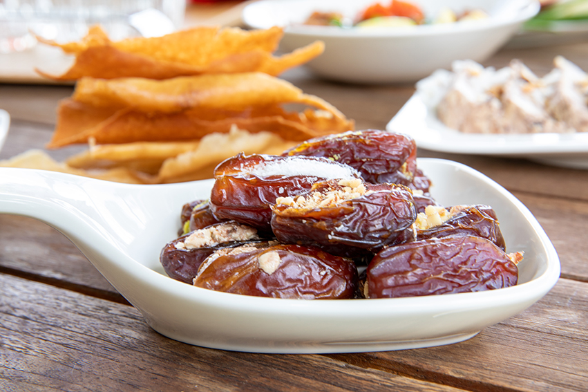 coconut and nut stuffed dates