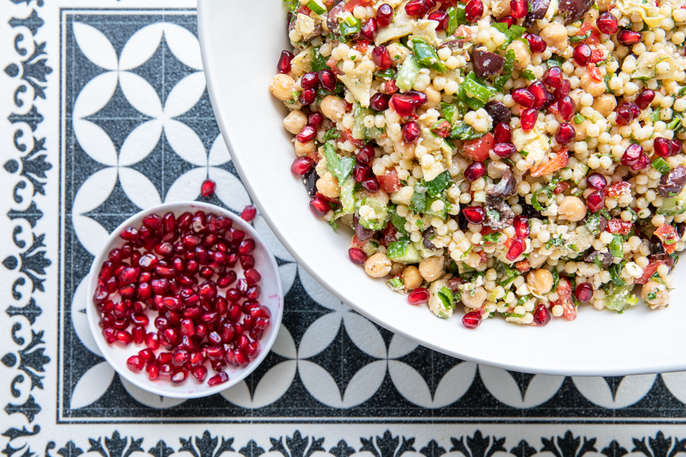 Pearl Couscous and Chickpea Salad served