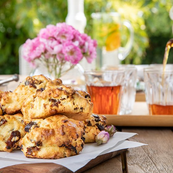 date and rose water scones served with English breakfast
