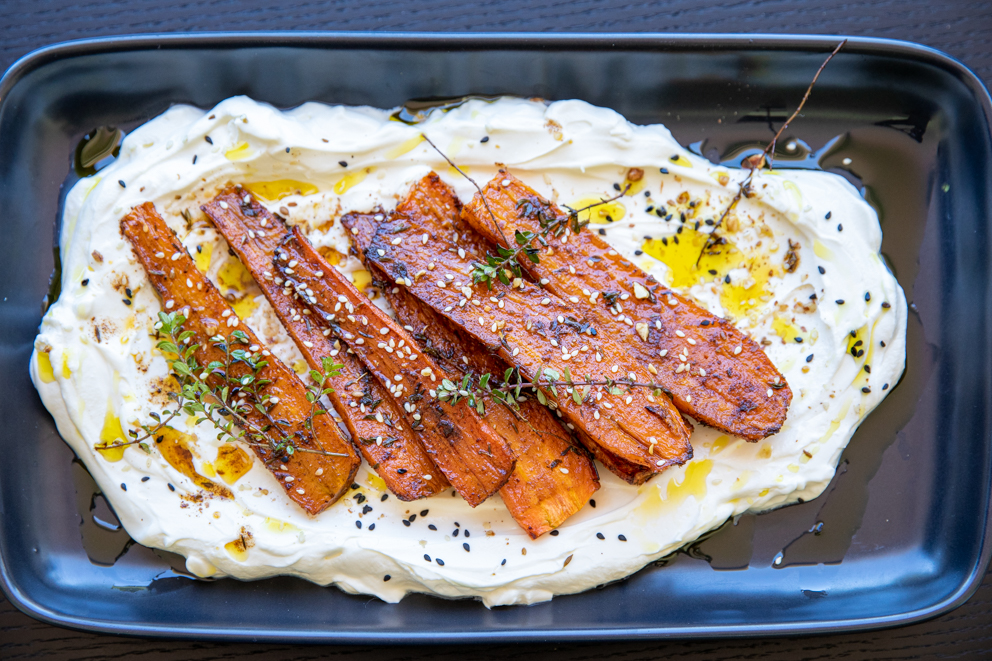 roasted carrots and labneh